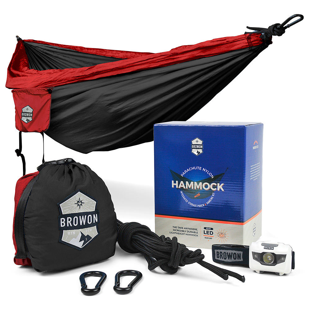 Red & Black Parachute Nylon Hammock Browon