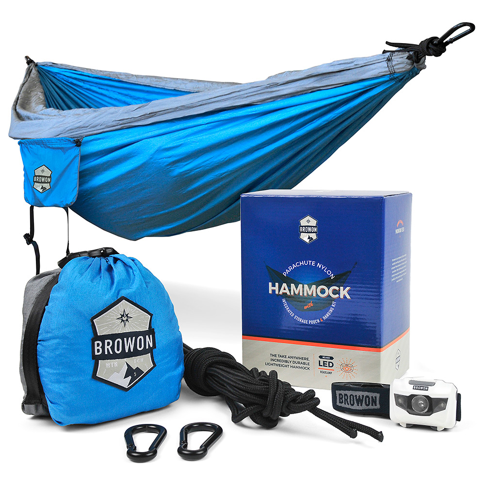 Gray & Blue Parachute Nylon Hammock Browon