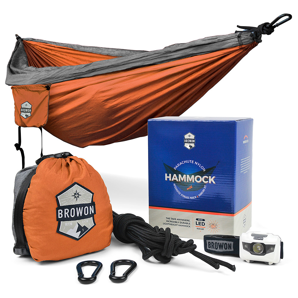 Gray & Orange Parachute Nylon Hammock Browon