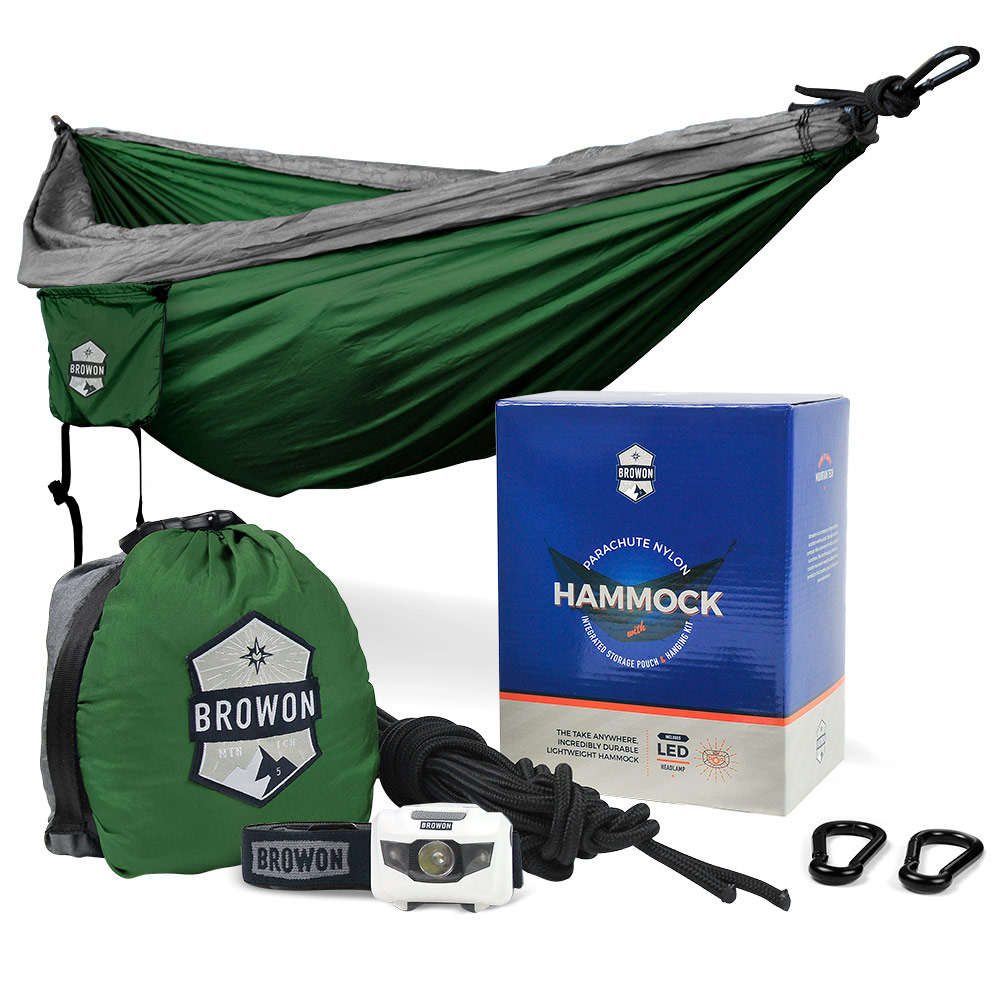 Gray & Green Parachute Nylon Hammock Browon